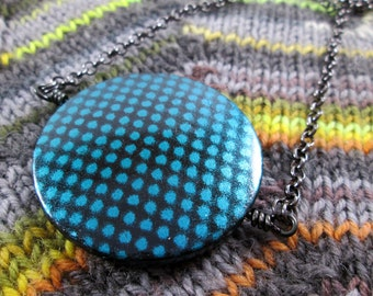 Spinner Pendant Necklace - Teal Blue Metallic - Long Chain