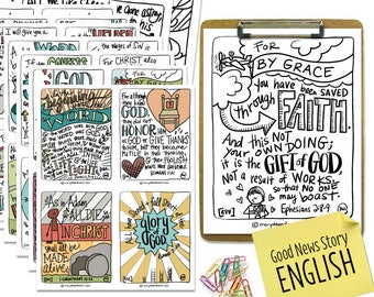 Printable Digital Download   Hand-drawn Good News Story Scripture Memory Cards and Coloring Pages Set   25 Cards and Coloring Pages   ESV