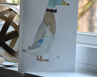 Beautiful {blank} watercolor greeting card made by 8-year old artist: Mr. Duck