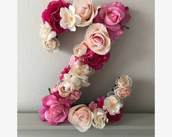 Pink Floral Letter | Block Letter | Nursery Decor | Floral Block Letter | Girl Personalize | Baby Shower | Kids Wall Decor | Initial |