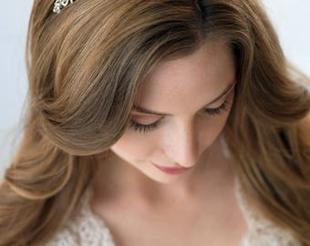 Antique Silver Bridal Headband, Art Deco Bridal Headband, Jeweled Wedding Headband, Vintage Rhinestone Headband, Vintage Headband ~TI-3158