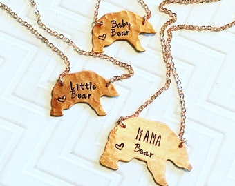 Mama Bear Little Bear Baby Bear Necklace Set - Hand Stamped - Mothers Day Gift - Gift For Her - Gift For Mom - Copper Bear - Heart