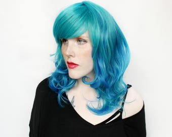 Blue wig | Long Blue wig, Teal wig | Scene Emo wig, Turquoise Scene wig | Blue Cosplay wig, Wavy wig, Curly wig | Turquoise Tide