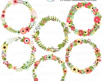 Flower Wreaths Clipart Set - floral wreaths, wedding wreaths, flower, florals, wreath - personal use, small commercial use, instant download