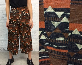 vintage 70s knit gauchos / neutral geometric print culottes / high waisted cropped flares