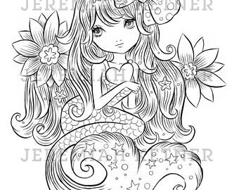 Cute Mermaid - Coloring Page