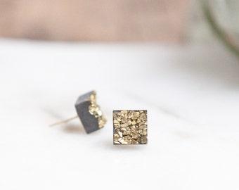 Concrete Square Gold Druzy Earrings