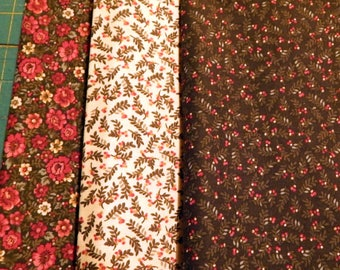 NEW Liberty Hill Quilt Fabric 100% Cotton Americana  Three Cuts - Green Tan Red Floral