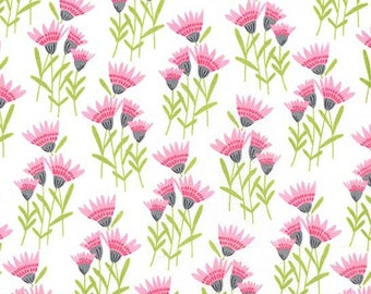 Pink Coneflower from the Happy Birds Collection by Michael Miller Fabrics, Pink Floral