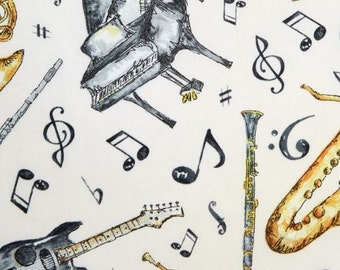 Play your Song, Instruments on Ecru / Wilmington Prints 31572 100% cotton  / Fat Quarter, 1/2 Yard and 1 Yard Cuts /  Cotton Fabric