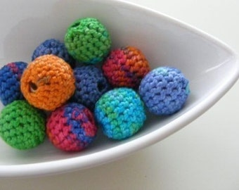 12 Organic Crocheted Beads in Joy of Colours