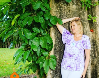 Cotton Tunic Top Hand Painted Fashion Plus Size Top Workout Wear Maternity Tunic Kauai Hawaii