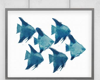 School of Fish Print with Size and Matting Options in Turquoise or Blue Watercolor