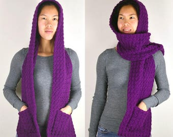 Cozy Hooded Scarf - 3 Sizes - PDF Crochet Pattern - Instant Download