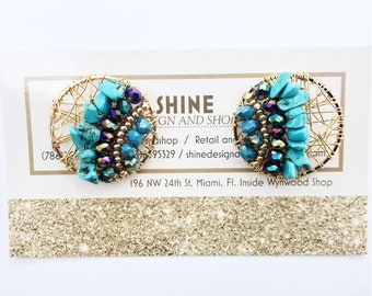 Handmade  natural turquoise earrings