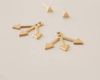 Arrow Ear Jackets, Arrow Earrings, Ear Jackets Earrings, Jackets Earrings, Gold Plated Earrings, Arrow Stud Earrings, Front Back Earrings