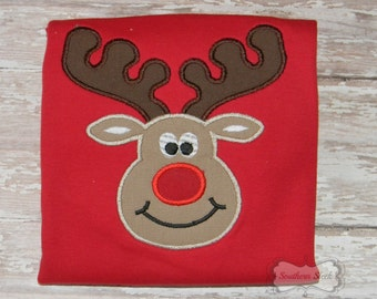 Reindeer Embroidered Shirt or Bodysuit in Red