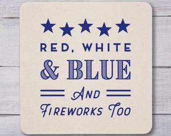 Fourth of July Coasters, Engagement, July 4th Coasters, Party Coasters, Independence Day, Stars and Stripes, Cookout, Fireworks, 1325