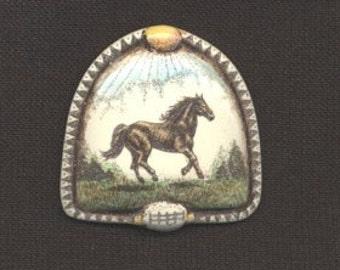 Horse scrimshaw technique resin hand colored pin