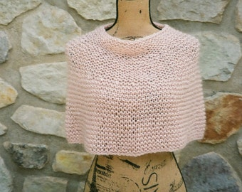 Womens Shoulder Cozy - Caplet - Poncho - Cowl - Soft Pink - Hand Knit - Mohair, Silk, Cotton - Fashion Accessories