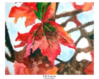 Watercolor Print of Fall Leaves