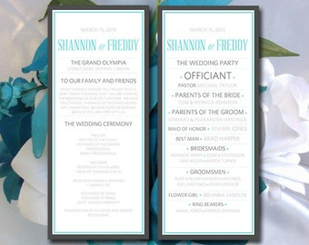 "DIY Wedding Program Template Modern Wedding Ceremony Program Charcoal Light Turquoise Silver ""Bordered Typography"" Printable Wedding Program"