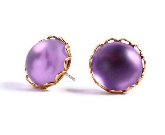 Vintage look Stud earrings Matte frost purple hypoallergenic surgical steel post earrings READY to ship (413)