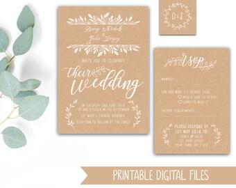 Printable Wedding Stationery Bundle - Kraft and White Leafy Foliage