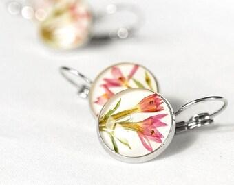 Bridal earrings rose Pink flower earrings bridesmaid Romantic earrings for girlfriend Birthday gifts girlfriend Pink earrings for wife gifts