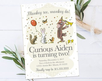 Curious George Birthday Invitation, Classic Curious George Birthday Invitation, Vintage Curious George Invitation Printable, Monkey Birthday