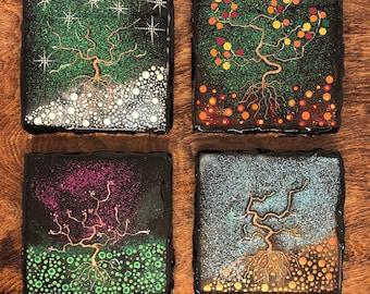 "Ceramic Tile Art - ""Season's Trees"" - Hand Painted set of 4"