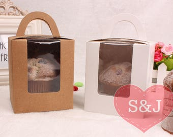 10pcs 9.5 x 9.5 x 11.5cm White/Brown/Pink/Blue 1 Hole Cup holder Kraft Gable Cardboard Boxes