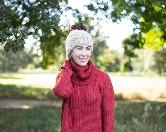 knit textured bun/ponytail beanie    wheat    choose your color