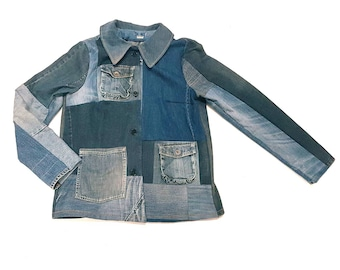 Jeans jacket, boro inspired coat for women. handmade denim jacket. one of a kind, free shipping.