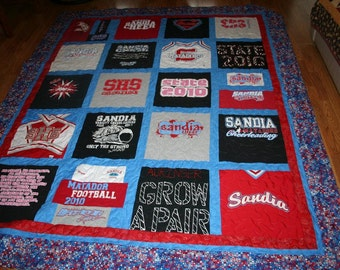 Perfect Graduation Gift - order by Jan 31 for 17% discount - Custom Made T-SHIRT QUILT from T-shirts - memories arranged & brought to life