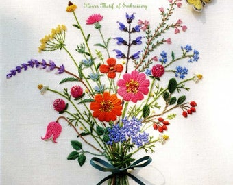 187 Design Kazuko Aoki's Flower Motif of Embroidery by Couturier - Japanese Craft Book
