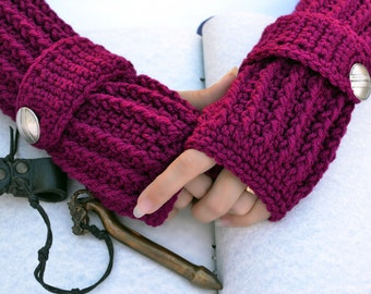 Boysenberry arm warmers, fingerless gloves, texting gloves, crochet glove, boho gloves, hand warmers, mittens, boho fashion, button gloves