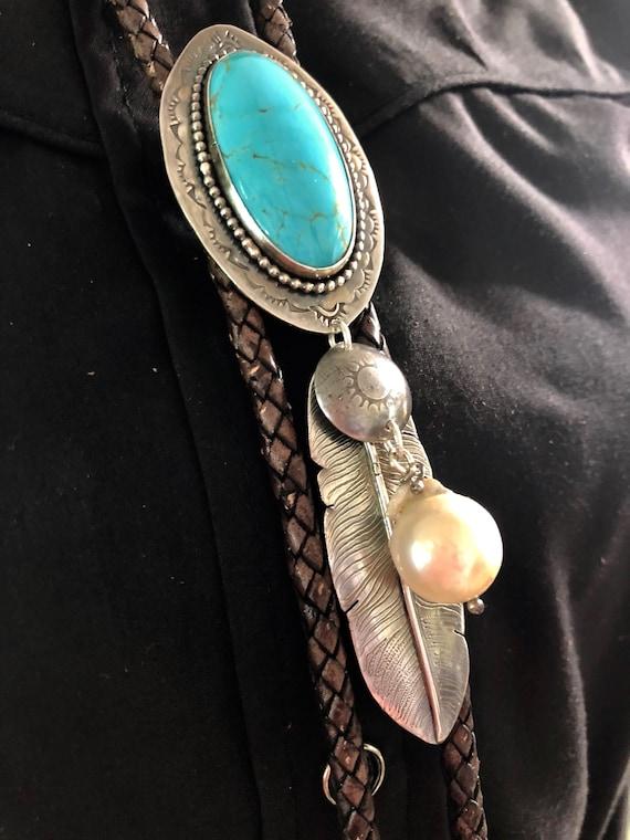 Handmade Jewelry, Women's Bolo Tie, Southwestern, Boho, Blue Kingman Arizona Turquoise, Bolo Tie, One of a Kind, Turquoise Bolo, Feather
