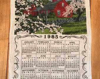 Vintage 1985 Linen Calendar, Vintage Linen Wall Calendar,  Vintage Tea Towel Calendar, O Wind if Winter Comes, Can Spring Be Far Behind