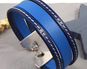 Gypsy blue and Navy stitching leather bracelet tutorial Kit