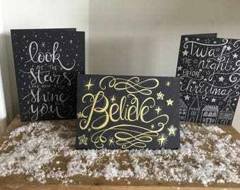 Hand lettered chalkboard style christmas cards