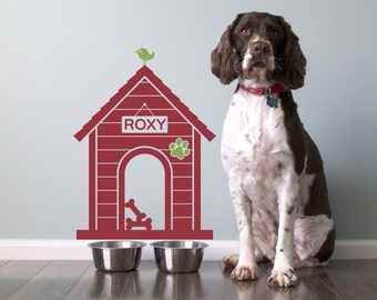 Dog House Wall Decal: Personalized Pet Name Room Sign Puppy Decor Kids Dog Theme Room Modern Indoor Dog House (SIZE SMALL)