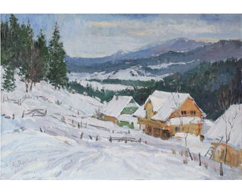 Winter landscape Original painting Snow Mountains landscape Country houses IMPRESSIONISM Home decor wall art Oil on canvas by A. Onipchenko