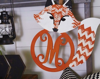 """20"""" Unfinished Fox Monogrampersonalize* craft* initial* unfinished*"""