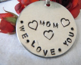 We love you mom hand stamped  keychain