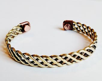 Magnetic Copper Cuff Adjustable Bracelet Gold-tone Loose Twisted Rope, Arthritis Natural Cure