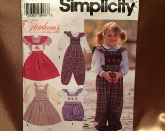 Oliver Goodin's Vintage Little Girl's Blouse, Overalls and Jumper Simplicity Classic Heirloom Sewing Pattern for Size 5-6X