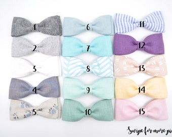 Spring Linen BOW TIES - 15 colors -Toddler Bow Ties - Wedding Bowtie - Clip on Bow tie - Newborn bow tie