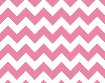 "Riley Blake Designs Medium 1"" Chevron Zig Zag Hot Pink and White by the yard"