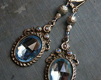 French Blue Steampunk Vintage Salvage Assemblage Earrings - Belly Dance, Renaissance Festival, Boho, Victorian, Rhinestone